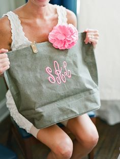 monogram tote... perfect for a bridesmaid gift!