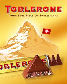 Toblerone - on trouve aussi du design culinaire das la grande distribution… Swiss Chocolate Brands, Types Of Chocolate, I Love Chocolate, Toblerone Chocolate, White Chocolate, Vintage Advertising Posters, Vintage Advertisements, Vintage Posters, Vintage Labels