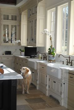 two farmhouse sinks...& and dog! so SWEET~