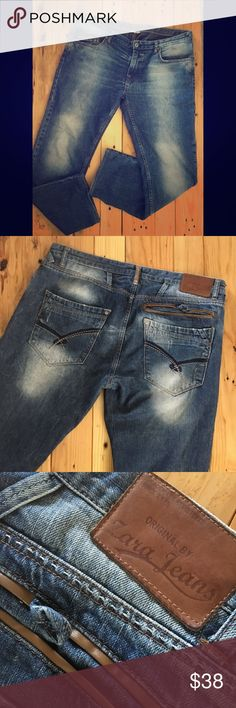 "Zara men's jeans size 38 Zara men's jeans size 38. Stylish wash, relaxed fit. In great condition. My husband rarely wore these and then lost a bunch of weight. Size tag & care tag are missing but these are size 38. 31"" inseam, 9"" rise with a 8.5"" leg opening. Zara Jeans Relaxed"