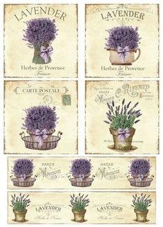 lavanda Vintage Labels, Vintage Cards, Vintage Paper, Vintage Images, Decoupage Vintage, Decoupage Paper, Scrapbooking, Scrapbook Paper, Lavender Crafts