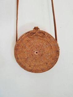 Sac panier en rotin rond Bohême ronde sac bandoulière sac à