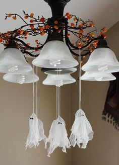 cheap easy Homemade halloween decoration chandelier hanging ghosts