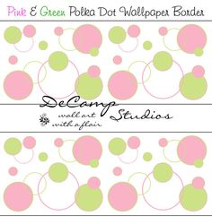 Pink and Green Polka Dot Circle wallpaper border wall art decals for baby girl nursery or children's room decor #decampstudios