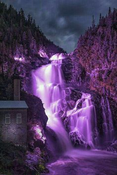 Beautiful colors Sunset near Eyjafjordur, North Iceland Ouiatchouan Falls - Val Jalbert - Canada Purple Love, All Things Purple, Shades Of Purple, Purple Stuff, Plum Purple, 50 Shades, Beautiful Waterfalls, Beautiful Landscapes, Purple Aesthetic