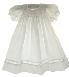 Newborn Girls White Smocked Daygown & Bonnet - Petit Ami - Hiccups Childrens Boutique