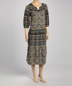 Black Abstract Floral Shift Dress - Plus $16.99 by Zulily