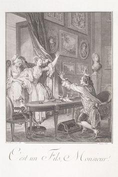It's a son, Sir!  [C'est un fils!] Monument du Costume, Jean-Michel Moreau le Jeune [1789]
