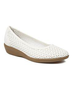 Look at this #zulilyfind! White Broadway Leather Flat #zulilyfinds
