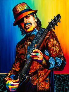Carlos Santana by Steven Schuman Music Icon, Art Music, Frida Art, Best Guitar Players, Jazz Art, Rock Posters, Concert Posters, Guitar Art, Classic Rock