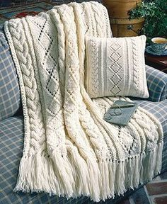 Cables & Diamonds Knit Afghan & Pillow Pattern Designed by Mary Jane Cable Knit Blankets, Cozy Blankets, Blanket Yarn, Knitted Afghans, Knitted Throws, Baby Knitting Patterns, Craft Patterns, Knitted Afghan Patterns, Crochet Patterns
