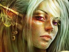 Very nice woman elf in warcoloring.