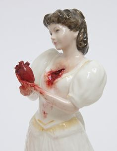Jessica Harrison transforms the collectible ceramic ladies that populate grandmothers' china cabinets into spectacles of gore.