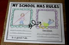 Students don't JUST need to know the rules.  They need to know *why* following these rules is important.  This fabulous cause-effect response page gets students thinking about why their rules are needed.