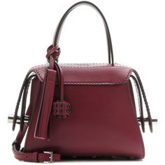 Tod's Twist Mini Leather Shoulder Bag ($2,170) ❤ liked on Polyvore featuring bags, handbags, shoulder bags, red, leather purses, mini purse, dark red handbag, red leather purse and tod's handbag