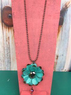 Turquoise Flower With Orange Jewel Necklace - NEK277TU