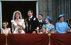 LtoR Unknown, Sarah Ferguson, Duchess of York, Zara Phillips (front), Prince Andrew, Prince Edward, Unknown (front), The Queen Mother, Prince William (front) and Queen Elizabeth II at Andrew and Sarah's Wedding, Buckingham Palace, London, England July 1986