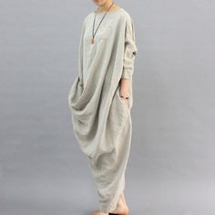 Unique Design Linen Dress Oversized Kaftan Dress Back Slit Maxi Dress Loose Long…