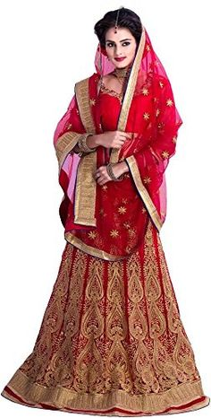 This is a traditional Indian wedding dress. Most dresses are red because this color represents luck and love.