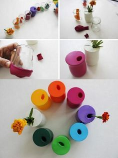 Balloons over cups = cute colorful vases. Need to try.