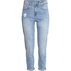 H&M Mom Jeans ($31) ❤ liked on Polyvore featuring jeans, pants, bottoms, calças, trousers, light denim blue, high waisted jeans, highwaisted jeans, h&m and high rise jeans