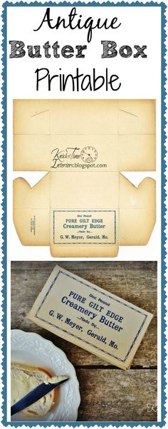 Free Printable Antique Butter Box via KNICK OF TIME @ KnickofTime.net