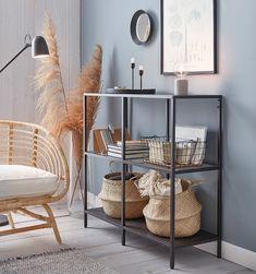 Simple Living Room Decor, Home Living Room, Apartment Living, Shelf Ideas For Living Room, Ikea Shelving Unit, Shelves, Glass Shelving Unit, Ikea Vittsjo, Earthy Home Decor