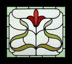 Art Nouveau Stained Glass Windows   Stunnning Art Nouveau Floral English Stained Glass Window   eBay