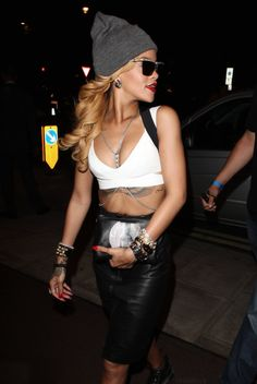 la modella mafia Rihanna clubbing party chic 2013 fashion in a white crop top, high waisted leather skirt, crystal belly body chain, a gray ...