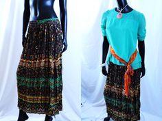 Indian long, crushed skirt. Cotton multi color gypsy skirt. Crinkled, Ethnic, boho skirt. From Artikrti. by Artikrti on Etsy