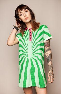 watermelon flared t-shirt dress