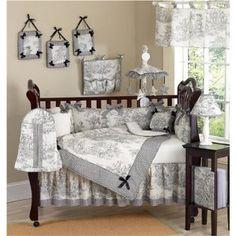 JoJo Designs 9-Piece Baby Crib Infant Bedding Set - Vintage French Black Toile on Amazon