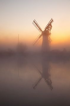 Dawn in Thurne Windpump, River Thurne on the Norfolk Broads, England, so many memories here ♥ Getting set for the days sailing ♥