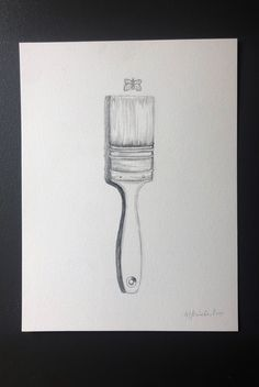 Paintbrush and Butterfly Original Drawing