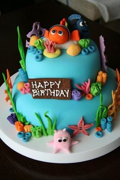 Three Nemo birthday cakes - take best sea creature/seaweed ideas from each