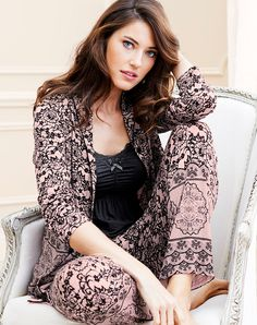 Embraceable Cool Nights Long Sleeve Shall Collar Pajama Top in Beloved Lace Boudoir Pink