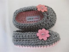 Spring. Baby Girl Shoes / Booties / Slippers Pink & Grey - YOUR CHOICE size newborn - 12 months - photo prop - clothing. $18.00, via Etsy.