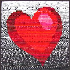 """Many Layers to My Heart - This mini quilt is literally many layers. Each stripe is a 1"""" strip, folded in half and sewn onto the background at it's top edge. The next strip overlaps so that only a 1/4"""" shows. The red heart section is pieced to the black and white. Mini quilt by Nancy Messier."""