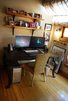 this office space definitely has the feeling of home basement office setup 3 primary