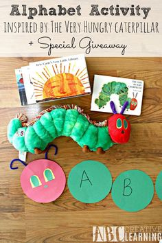 Alphabet Activity Inspired by The Very Hungry Caterpillar Craft Game + Giveaway. A great way to teach children to love to read! - abccreativelearning.com