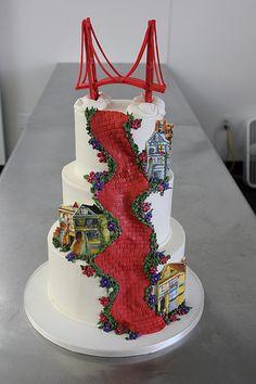 Wonderful Lombard Street San Francisco With The Golden Gate Bridge Atop No Less February Weddingmini Cakesfancy