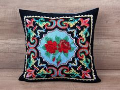 Check out this item in my Etsy shop https://www.etsy.com/listing/454182704/black-boho-pillow-cross-stitched-cushion