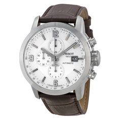 Tissot T-Sport PRC 200 Chronograph White Dial Brown Leather Men's Watch T0554271601700
