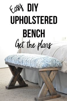 Love this bench An easy and quick build And so cheap too Perfect beginner woodworking project Adds farmhouse look to your home This DIY upholstered Xbench using only Woodworking Furniture Plans, Woodworking Projects That Sell, Diy Wood Projects, Fine Woodworking, Popular Woodworking, Woodworking Classes, Woodworking Equipment, Woodworking Crafts, Woodworking Apron