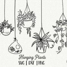 Plant Sketches, Doodle Art Letters, Doodle Frames, Drawing Clipart, Clip Art, Plant Drawing, Hanging Plants, Potted Plants, Indoor Plants