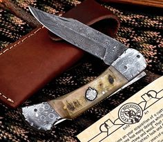 CFK BRIAN YELLOWHORSE Custom Handmade Damascus CHIEF Lockback Sheep Horn Knife
