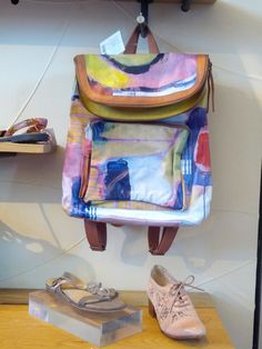 "Knapsack available at Anthropologie, inspired by the painting, ""Quite"", by Claire Desjardins."