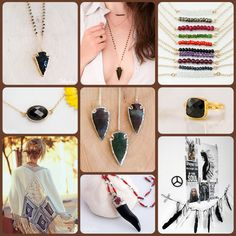 Boho chic inspiration board. Arrowhead black obsidian pendants mixed and matched with other great pieces for a perfect layered necklace look. Perfect for 2015 Spring/Summer jewelry trends. From Delezhen.