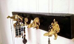 Key Holder With Gold Dinosaur Hooks // Jewelry Holder Jewelry Hanger //  Key Rack // Key Hooks