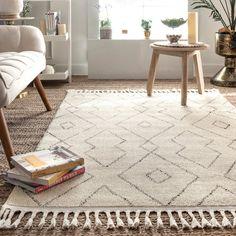 George Oliver Faucett Beige/Black Area Rug Rug Size: Rectangle x Bedroom Carpet, Living Room Carpet, Rugs In Living Room, Dining Rooms, Rug Over Carpet, Diy Carpet, Carpet Ideas, Cheap Carpet, Wall Carpet